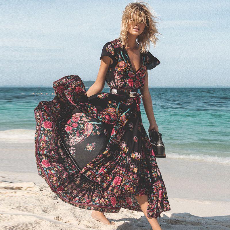 DeRuiLaDy 2019 nouvelles femmes été Boho plage Maxi robe Sexy col en V Vintage imprimé longues robes décontracté robe d'été vestidos