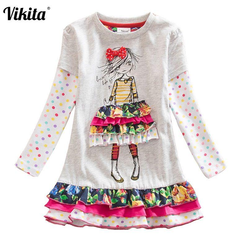 VIKITA nouvelles filles robe bébé fille princesse robes de fête fleur Tutu robe pour filles à manches longues enfants vêtements LH3660 MIX