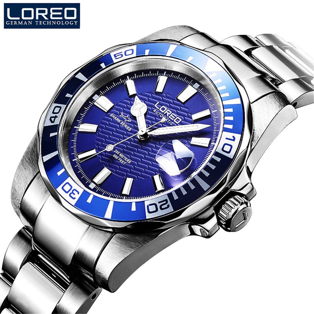 LOREO Men Top Luxury Brand Submariner Casual Fashion Stainless Steel Wristwatches Man Seagull Mechanical Waterproof 200M Watches