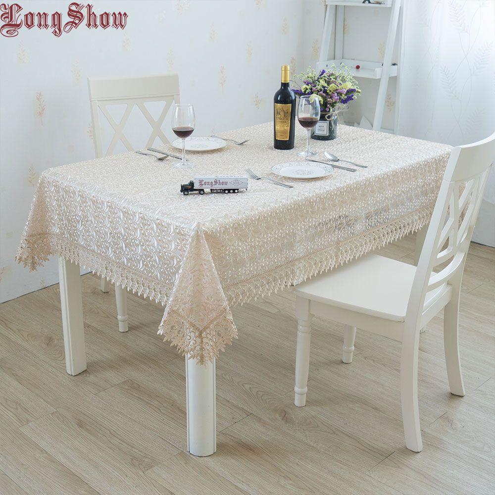 2019 plus récent élégant blanc café couleur Organza carré dentelle garniture broderie nappe pour fête de mariage