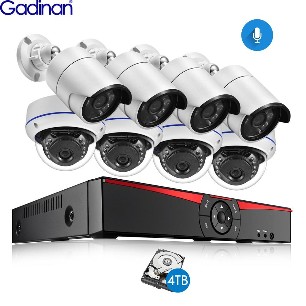 Gadinan 8CH POE 4MP Sicherheit NVR Sets 4.0MP 1080P Kamera Audio Sound CCTV System Dome Kugel Outdoor Überwachung Kits 4TB HDD