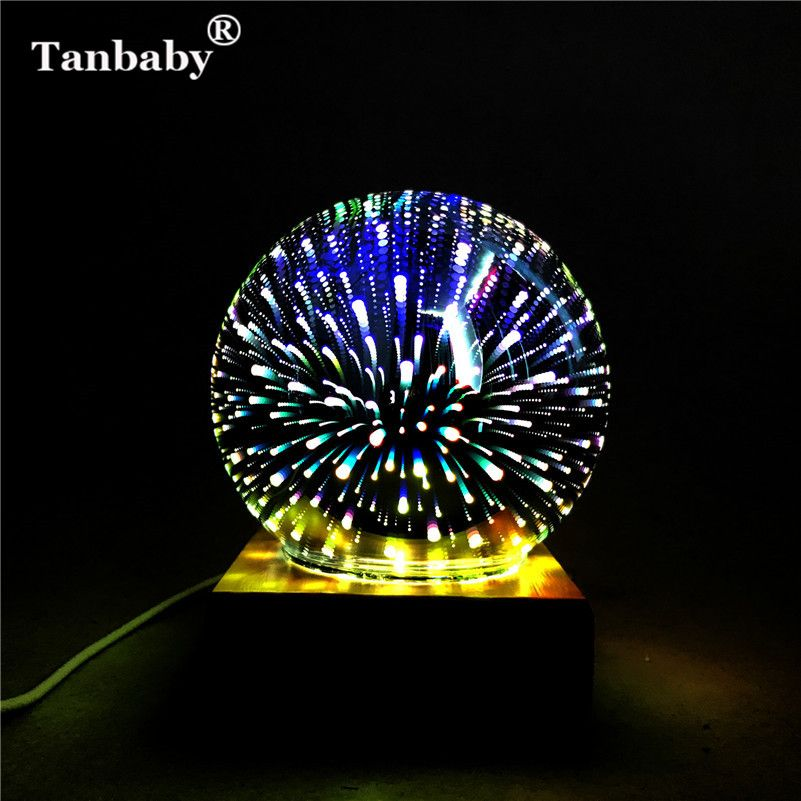 Tanbaby DC5V USB powered 3D illusion Led lamp 3W Creative Round led night lights Multicolor Fireworks indoor decoration Party