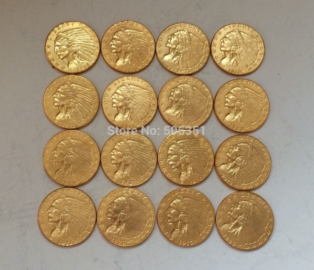24- K gold plated  15 coins set Indian head $2 1/2 gold coin COPY
