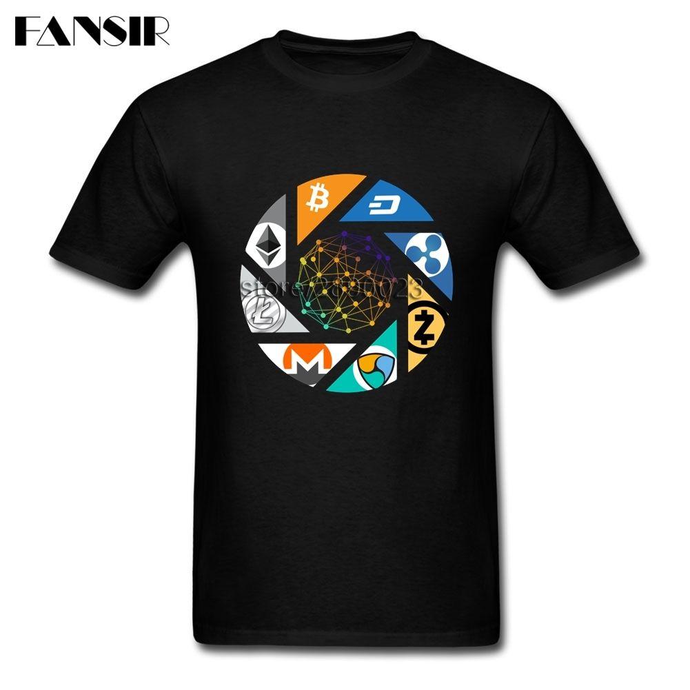 Cryptocurrency Bitcoin T-Shirt Men Litecoin Dash Zcash Ethereum Monero Short Sleeve O-neck Cotton Men T Shirt Clothes