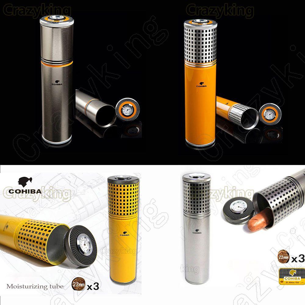 COHIBA Gadgets de Viaje De Aleación De Aluminio Del Tubo Del Cigarro Humidor Jar Con Humidificador Higrómetro