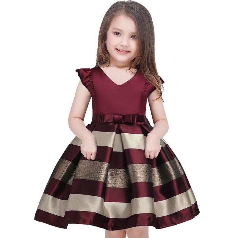 Платье для девочек новый лук в полоску платье принцессы для девочек для маленьких девочек прием вечерние платья нарядное платье для девоче...