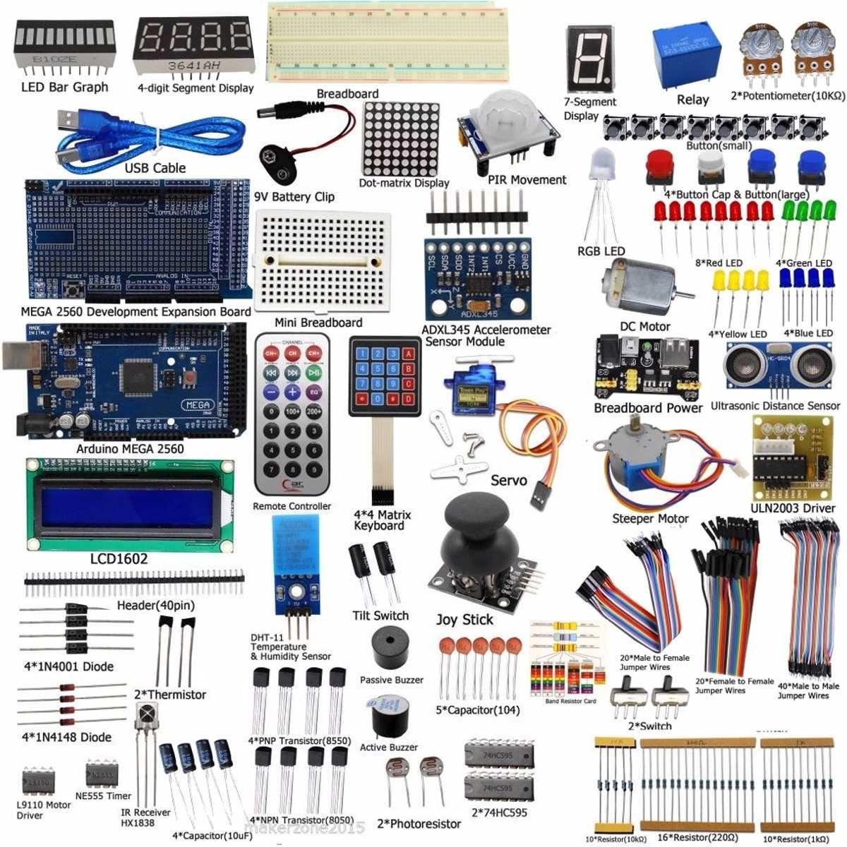 Nueva DIY Eléctrica Unidad Final Servo Motor Starter Kit para Arduino MEGA 2560 1602 LCD LED Relé RTC kit Electrónico