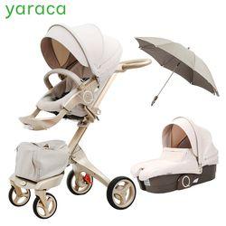 Lujo cochecito de bebé alto paisaje portátil cochecito plegable para recién nacidos Sistema de viaje 2 en 1