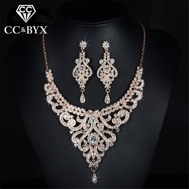 Or Rose couleur de mariée ensembles de bijoux cz cristal autrichien collier boucle d'oreille définit bijoux de luxe femme D020