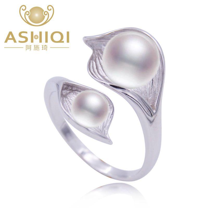 ASHIQI perla Natural 925 joyería De Plata de Doble anillo de la perla 7-8mm de agua dulce blanco perla rosa púrpura negro