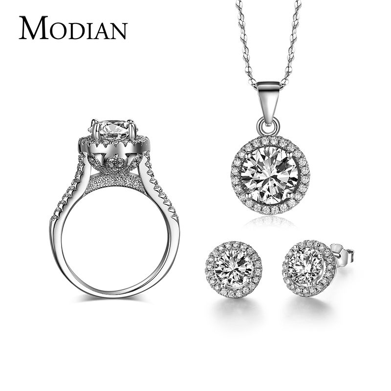 90% off Wedding Jewelry Sets for Brides 925 Sterling Silver AAAAA Level CZ Stud Earrings <font><b>Ring</b></font> Necklace Bridal Jewelry Set