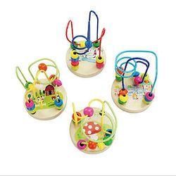 2018 Anak-anak Bayi Warna-warni Mainan Kayu Mini Around Manik Kabel Maze Educational Permainan Mainan Anak