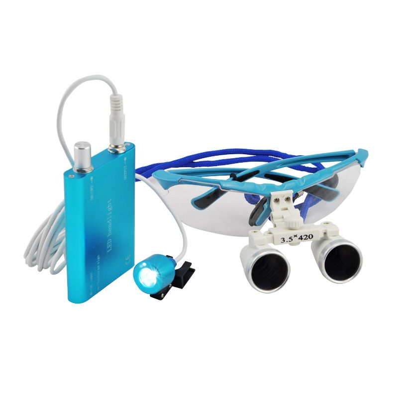 3.5X420mm Dental Surgical Loupe Magnifier, Binocular Magnifier with LED Head Light Lamp Dental Loupes