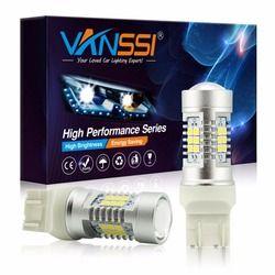 Vanssi 2 шт. T20 7440 W21W W21/5 Вт 7443 светодиодный лампы сигнала стоп Обратный DRL лампы Белый Красный желтый янтарь 1 год гарантии 12-24 В