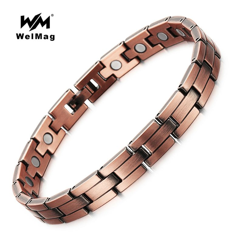 WelMag <font><b>Health</b></font> Care Pure Bio Magnetic Copper Bracelets Healthy Therapy Bracelet for Mens Jewelry
