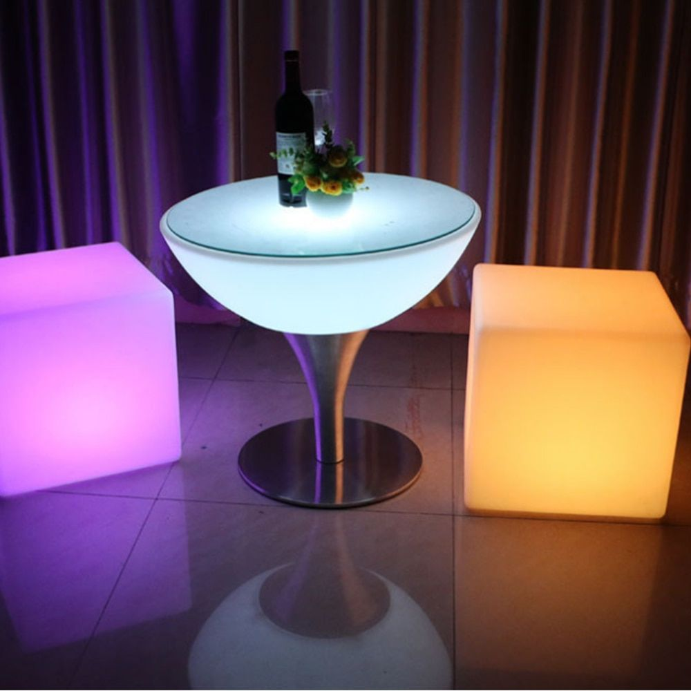 LED bar stool luminous cube outdoor IP68 luminous furniture creative remote switch control colorful changing side stool Size20cm