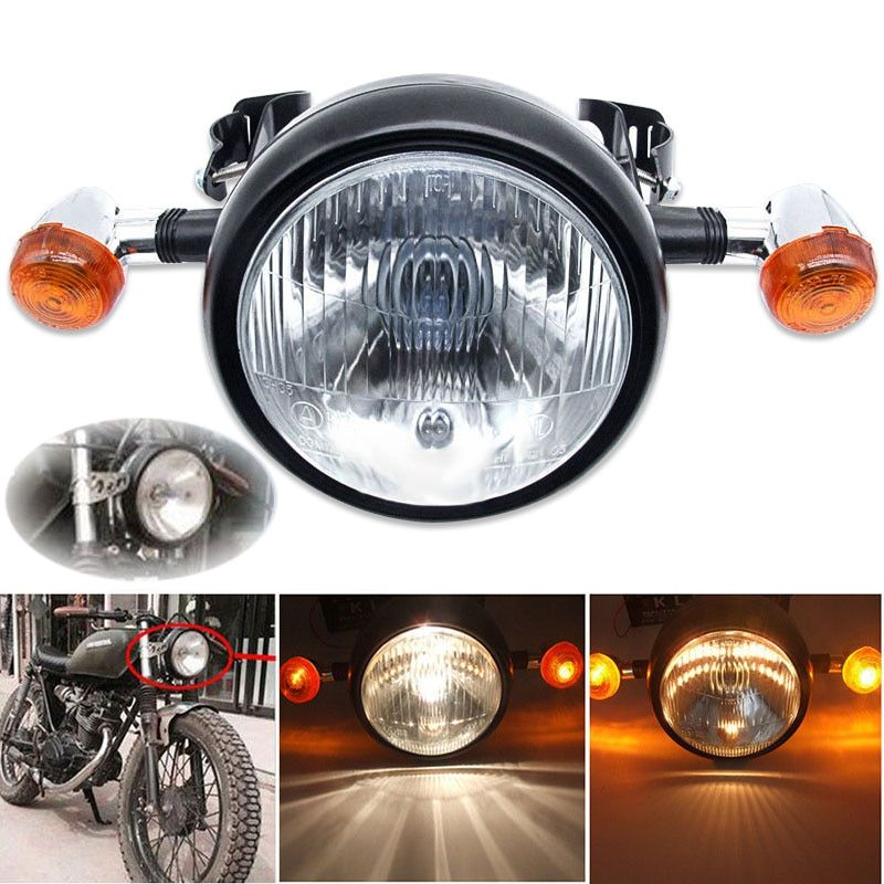 Mayitr New Motorcycle Retro Front Headlight Turn Signal Light + Head Light Brackets Mount For Motorbikes Cafe Racer Bobber