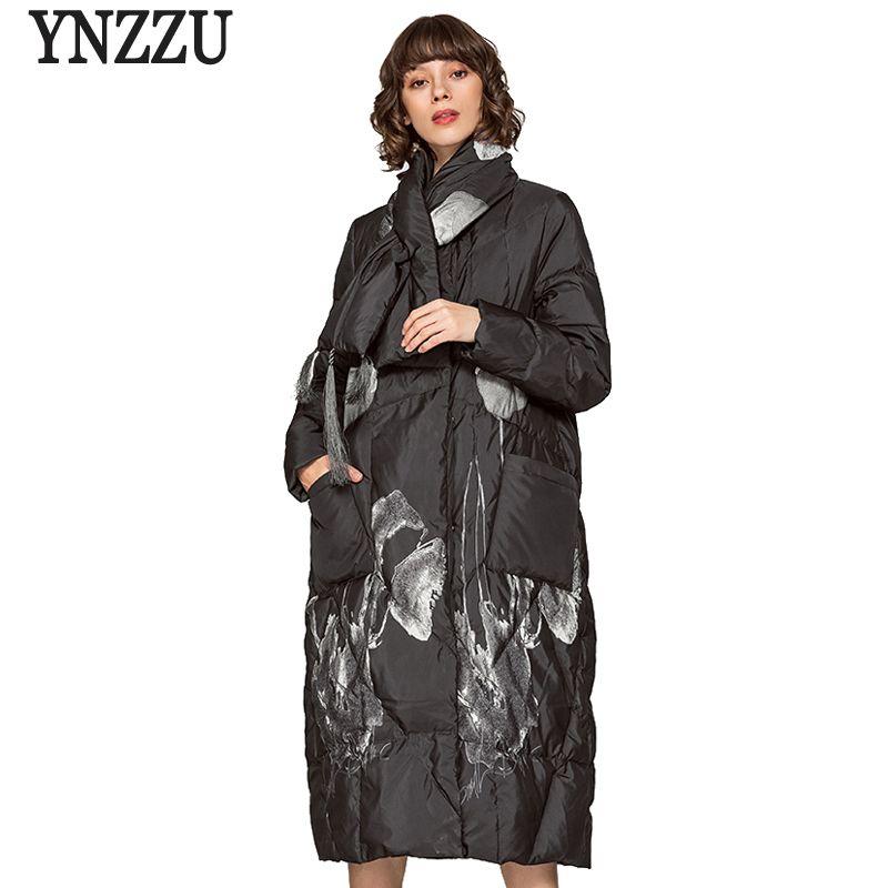 Chinesischen Stil 2018 Winter Jacke Frauen Eleganten Druck Extra Lange Lose Weibliche Ente Unten Mantel mit Schal Warme Dame Mantel AO630