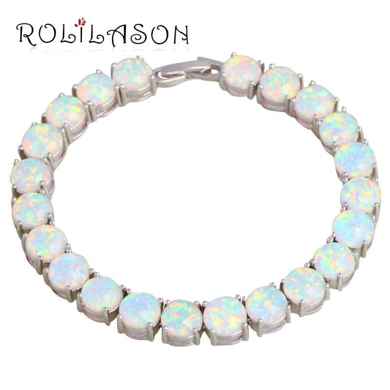 ROLILASON Brand Design Anniversary White Fire Opal Silver Stamped <font><b>Charm</b></font> Bracelets for Women Precious Fashion Jewelry OB064
