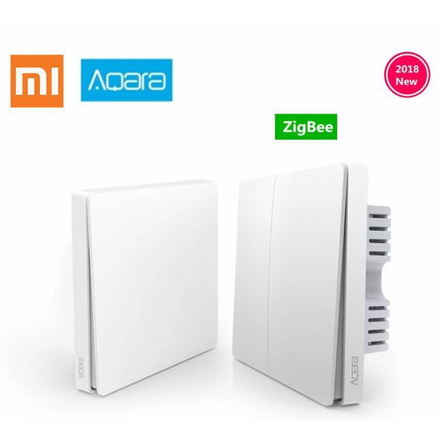 D'origine Xiaomi Aqara Mijia maison Intelligente Contrôle De La Lumière Unique Feu fil ZigBee Sans Fil Interrupteur à Clé Mur Via Smartphone APP À Distance