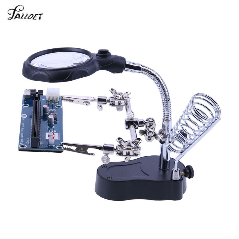 Third Hand Welding Magnifying Glass with LED Light 3.5X-12X lens Auxiliary Clip Loupe Desktop Magnifier Soldering Repair Tool
