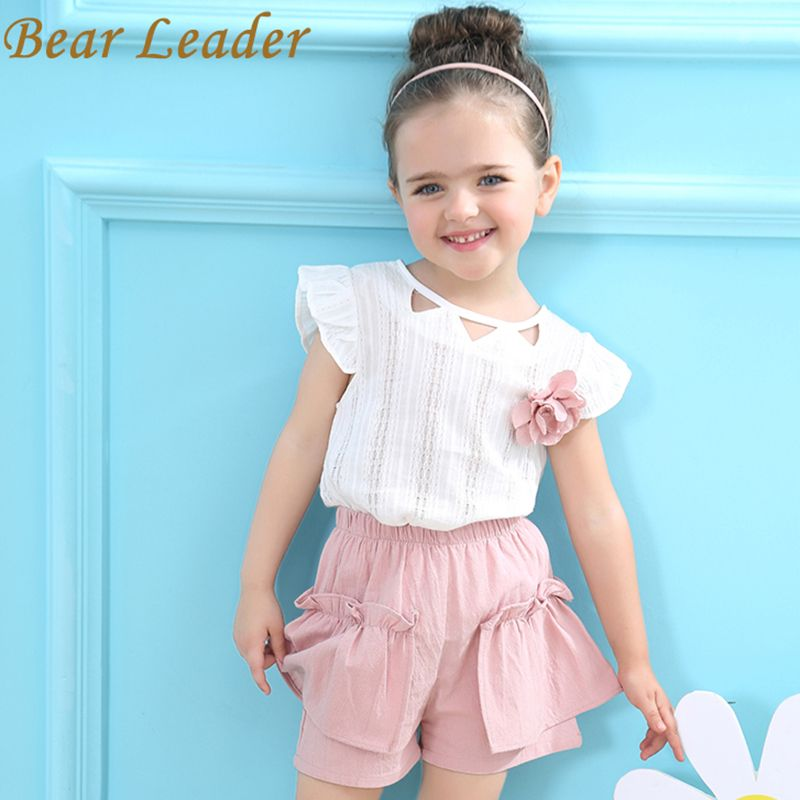 Bear Leader Girls Clothing Sets 2017 Brand Girls Suits Summer Sleeveless Appliques T-shirt+Floral Shorts 2Pcs Children Clothing