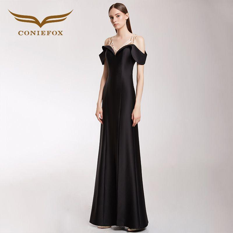 CONIEFOX 32298 schwarz nixe-abend-kleid prom kleider mutter der braut kleider vestido de festa longo para casamento
