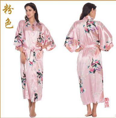 RB015 Trajes de Satén para Las Novias de Novia Bata ropa de Dormir Pijama de Seda Rayón Camisón Largo Mujeres Kimono Albornoz Animales Ocasional XXXL