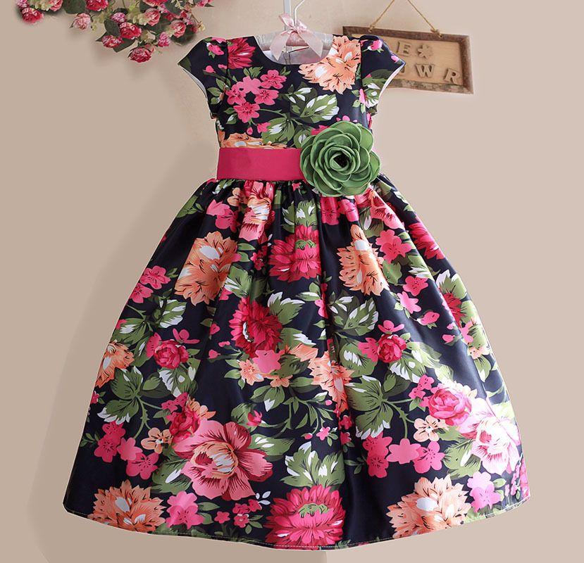 Nouvelles Filles Robe Noir Fleur Parti Casual Enfants Vêtements À Manches Courtes Vert Ceinture De Mode Robes Taille 3-8