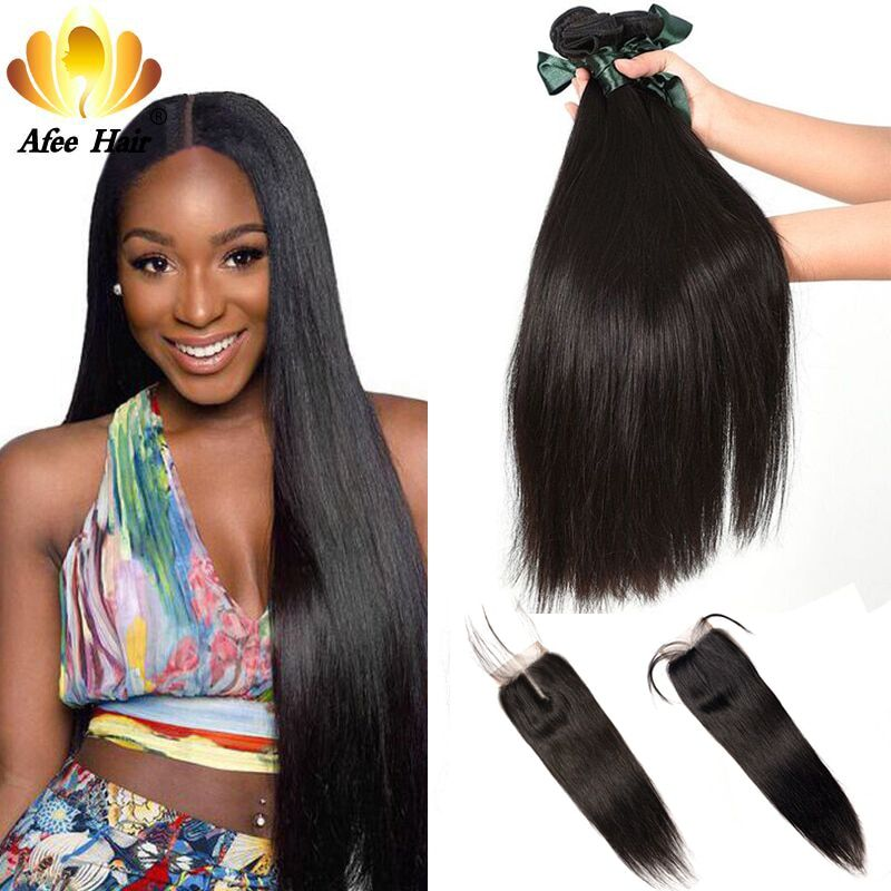 AliAfee Péruvienne Cheveux Bundles Avec Fermeture Non Remy Cheveux Armure Droite Péruvienne Cheveux Bundles Avec Fermeture 3 Bundles Deal