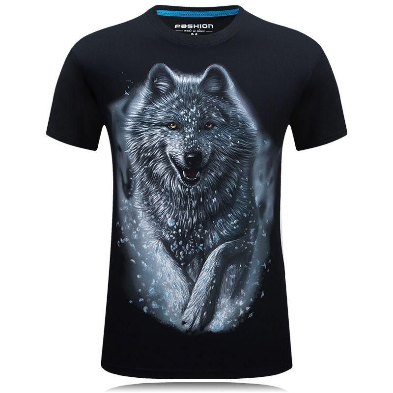 Une pièce T-Shirt hommes loup 3D imprimé coton drôle t-shirts unisexe T-Shirt homme marque vêtements haut d'été camisetas hombre