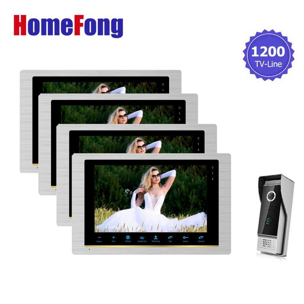 Homefong Video Door Phone Intercom Doorbell Camera System 10 Inch Large Screen Monitor 4 Indoor Panels and 1 Outdoor Doorbell