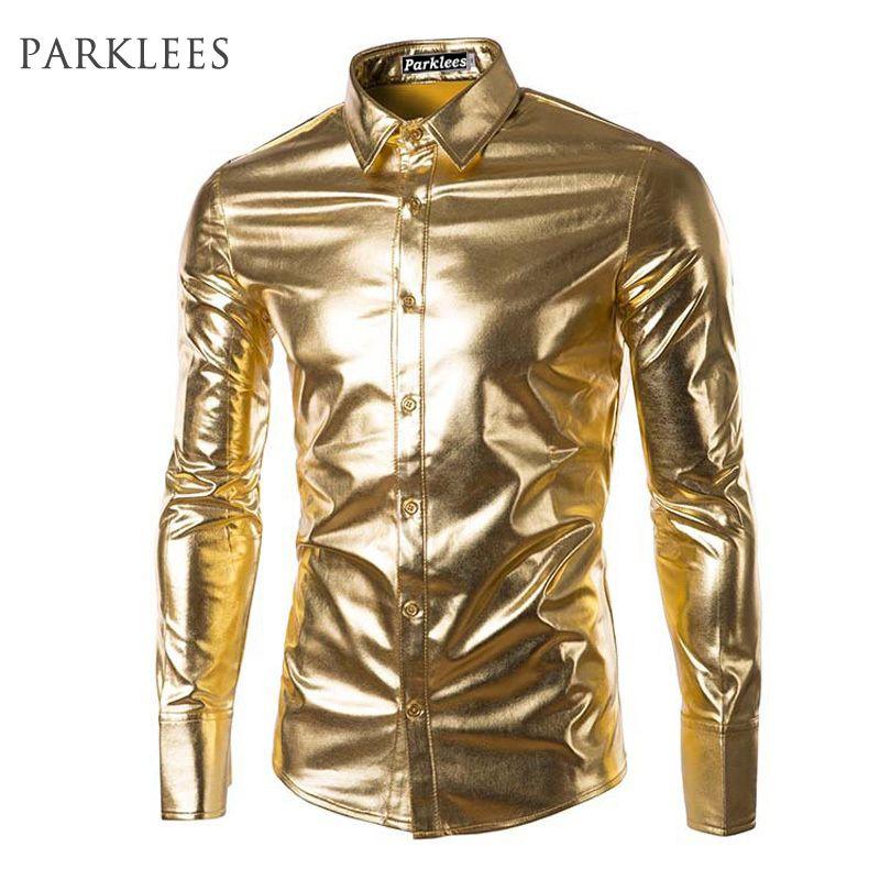 Night Club Wear Men's Elastic Shirts Slim Fit Fashion Metallic Shiny Shirt Mens Shirts Long Sleeve Chemise <font><b>Homme</b></font> Clothing