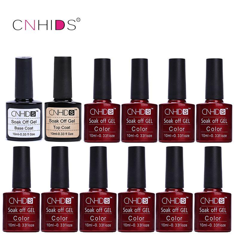 CNHIDS 10 PC Nail Gel Polish Top Coat+ Base Coat 132 Colors 10ml Gel Nail Polish Varnishes cheap Manicure LED Shining Colorful