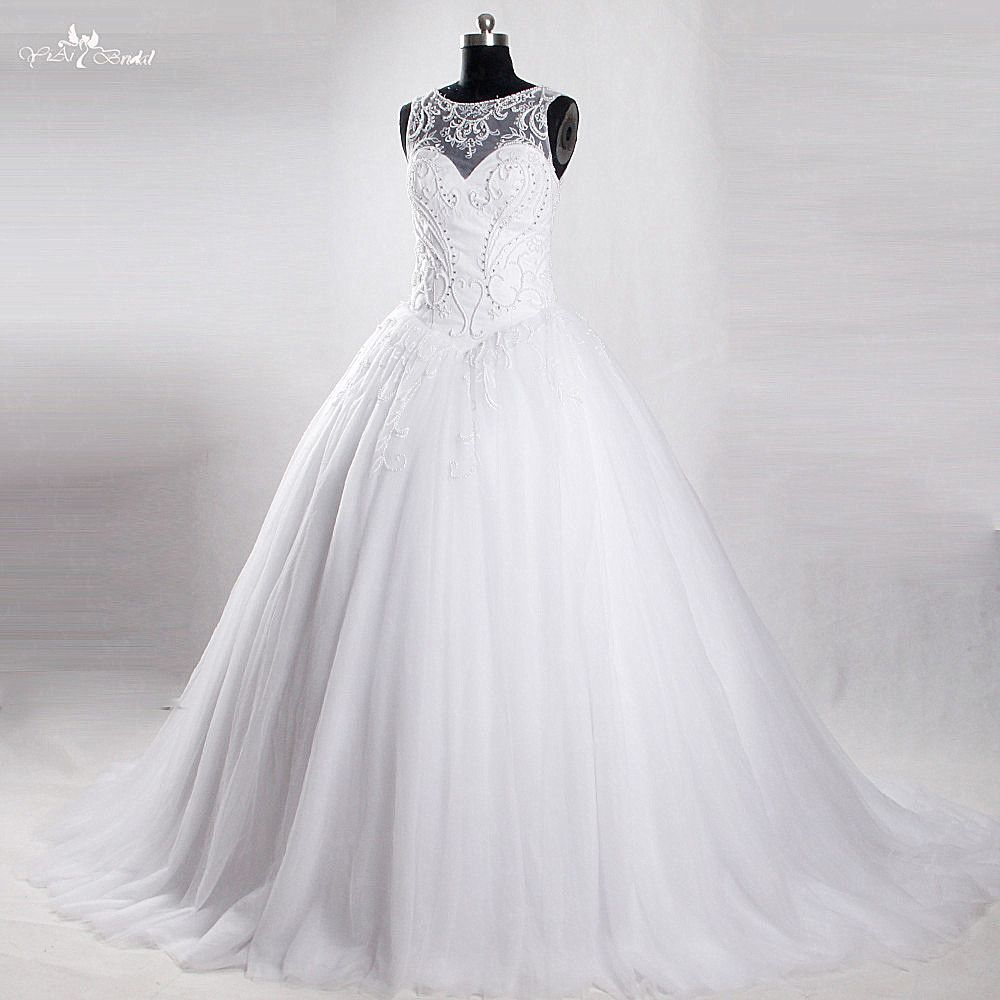 RSW853 Yiaibridal Real Job White Ball Gown Tulle Skirt Beaded Corset Vestido Noiva Princesa