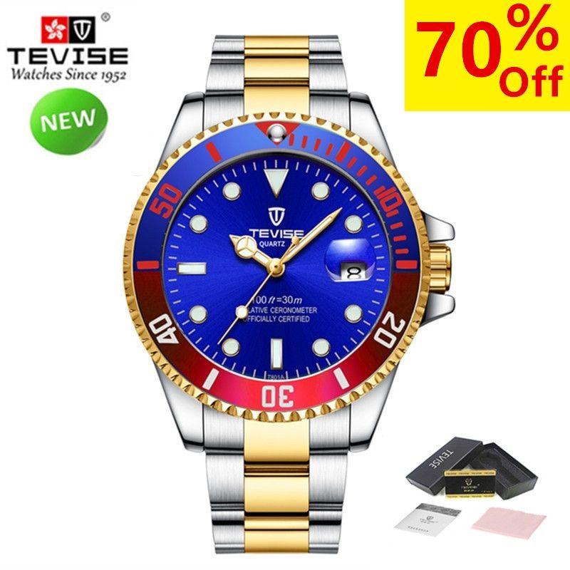 Neue Uhren Männer Luxus Marke TEVISE Mode Wasserdicht Casual Quarzuhr Sport Stianless Stahl Herren Handgelenk Uhren Männlichen Uhr