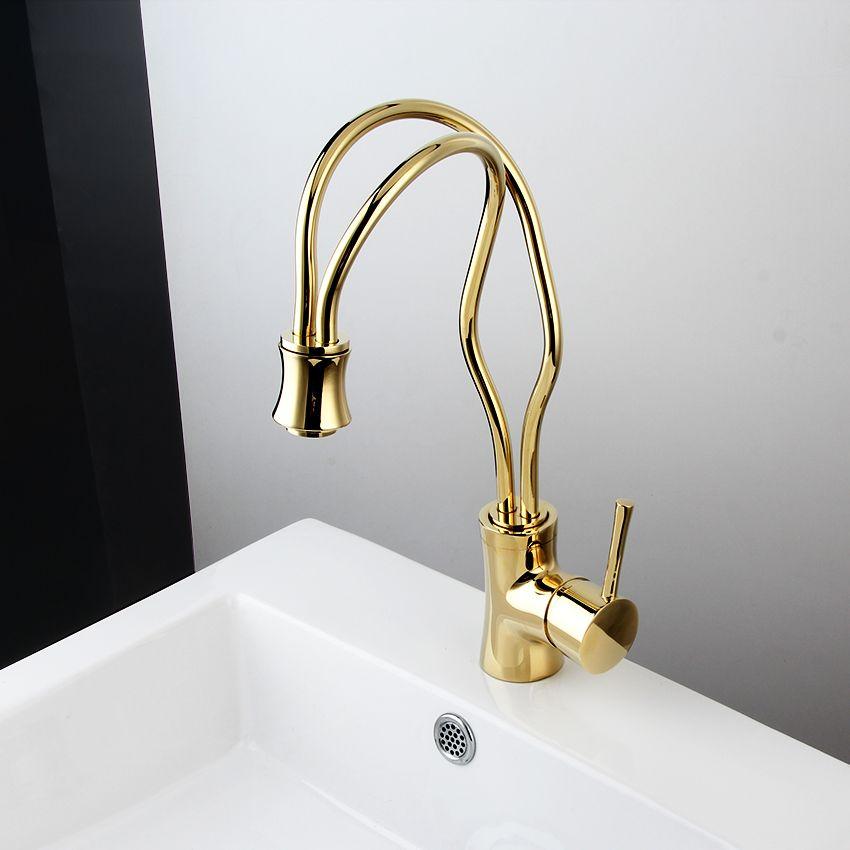 Neue Küche wasserhahn Goldene Kupfer kalt-und warmwasserhahn Luxury Sink wasserhahn Gemüse waschbecken 360 grad wasserhahn