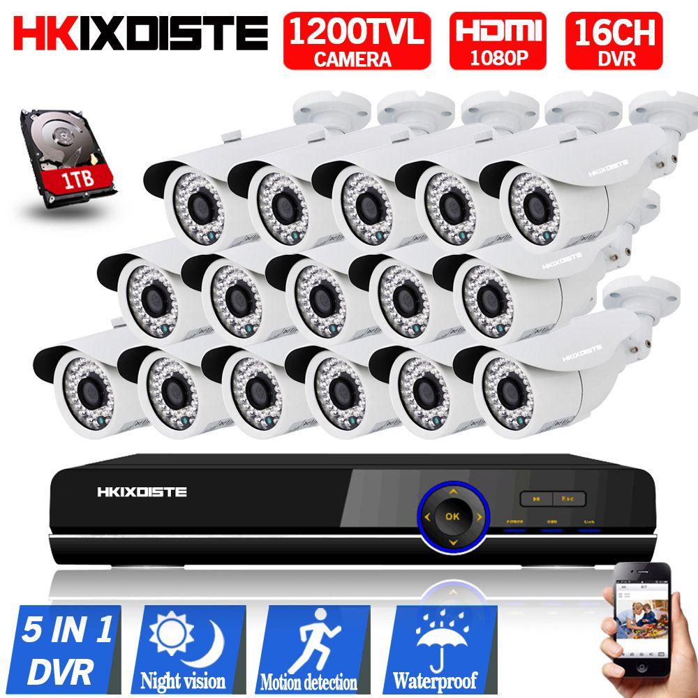 16 Channel AHD DVR 1080P Security CCTV DVR Hybrid 1080P HDMI DVR CCD 1200TVL Waterproof 720P Camera Surveillance System hd 1 tb