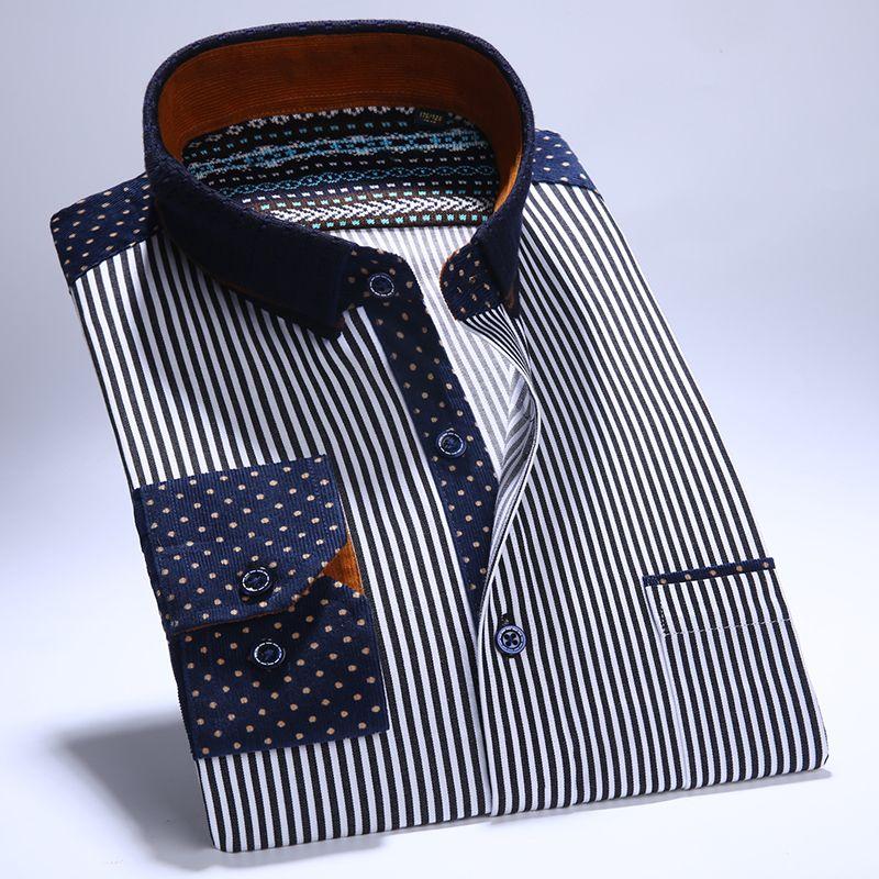 Hombres camiseta Manga Larga Rayada Pana Camisas con Bolsillo Izquierdo Del Pecho Del Collar del Remiendo Delgado-fit 100% Algodón Botón Casual-abajo Camisa