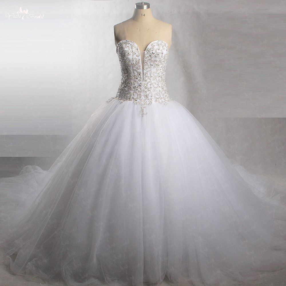 RSW430 Perfect Sparkly Sweetheart Tulle Bridal Gowns With Bling Beaded Crystal Wedding Dress