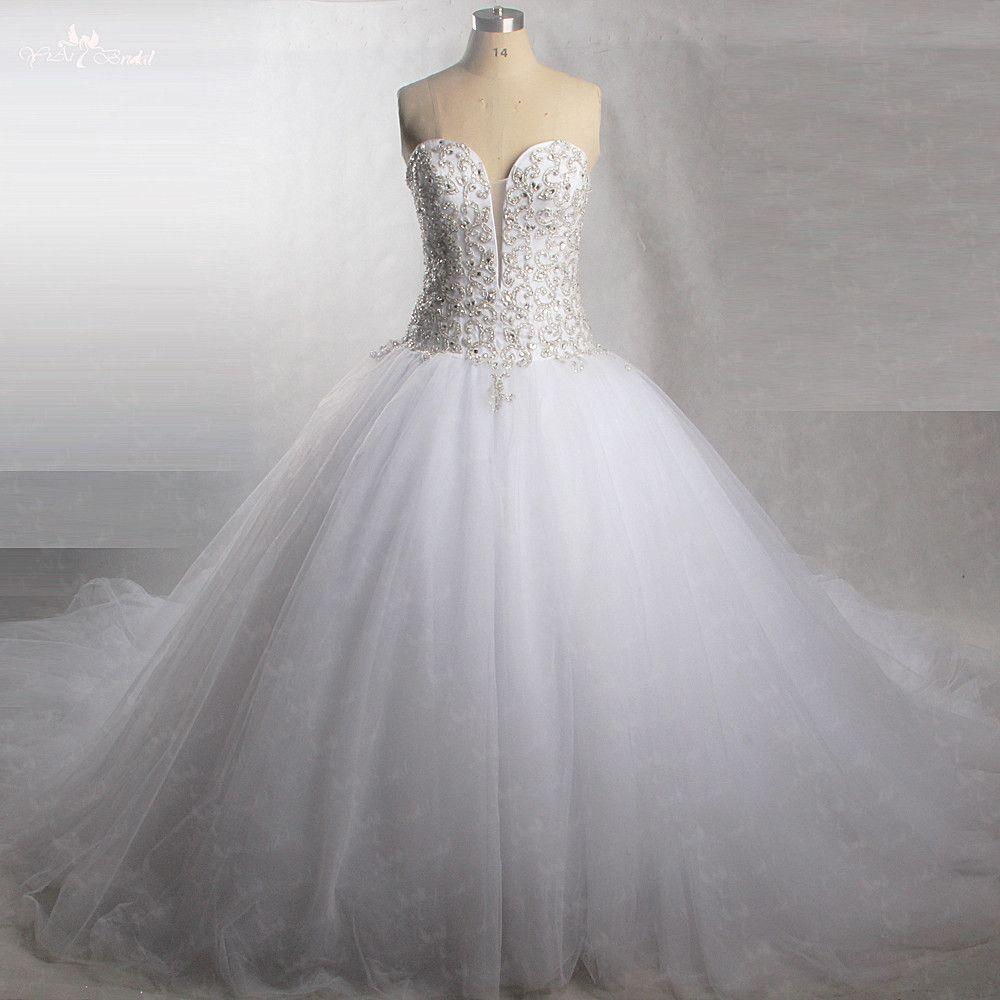 RSW430 Perfekte Sparkly Sweetheart Tüll Brautkleider Mit Bling Perlen Kristall Hochzeit Kleid