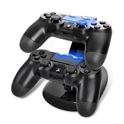 ALLOYSEED Double USB Gamepad Contrôleur Chargeur Dock Jeu Contrôleur Alimentation Support de Charge de Base Pour Sony Playstation 4 PS4