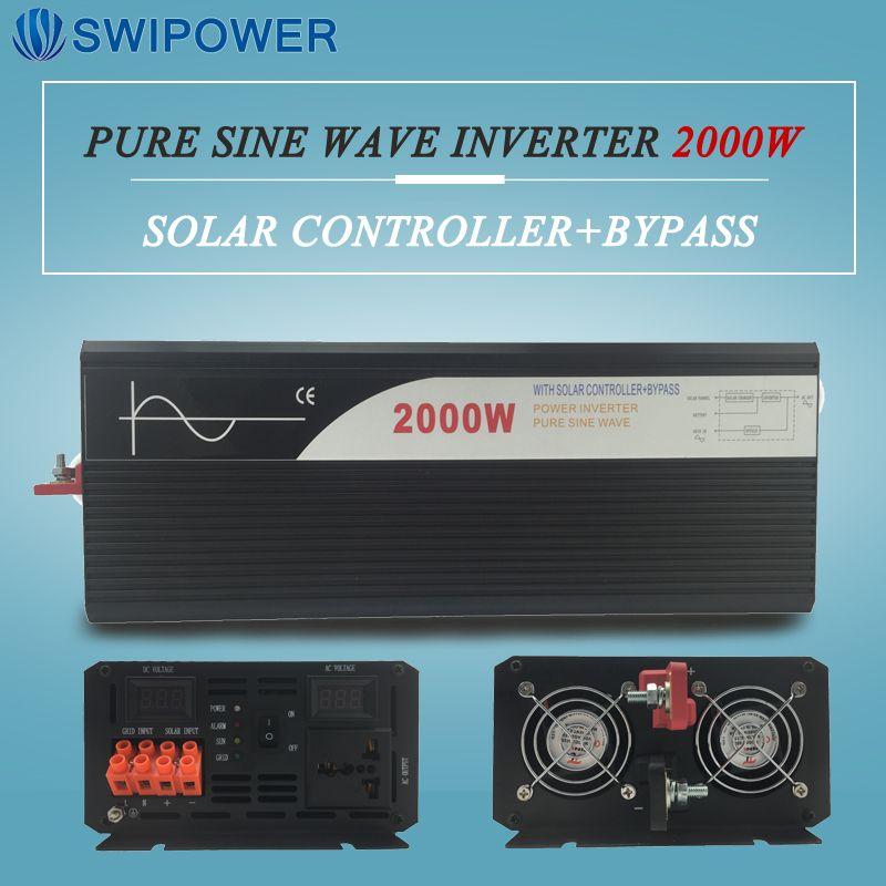 Rein sinus solar power inverter 2000 watt 12 V/24 V DC zu AC 120 V/220 V mit solarregler mit bypass