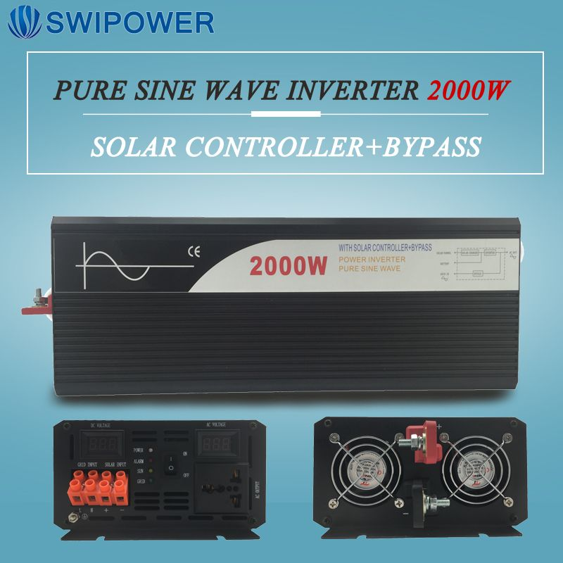 pure sine wave solar power inverter 2000w 12V/24V DC to AC 120V/220V with solar controller with bypass