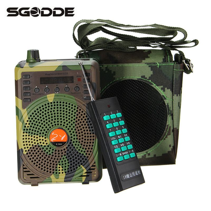 SGODDE Camouflage 48W Electric Hunting Decoy Speaker Bird Caller Predator Sound MP3 Player Bird Trap with Remote Control Goods