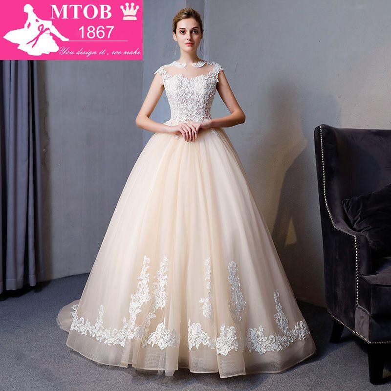 New Arrival Ball Gown Lace Wedding Dress 2018 Romantic Robe De Mariage Vestido De Noiva Luxury beading Bride Dresses MTOB1809