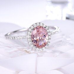 UMCHO кольцо из стерлингового серебра 925 овальные классические кольца с розовым морганитом для женщин обручальные драгоценные камни обручаль...