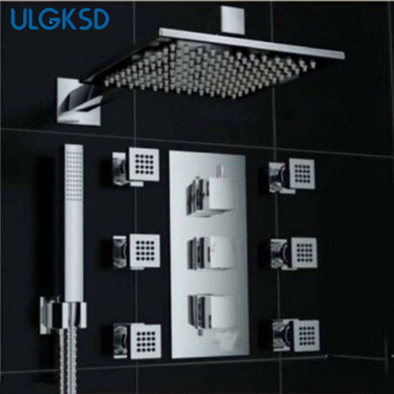 Ulgksd Multi Choices Square LED Wall Mounted Rainfall Shower Faucets + Shower Head + Massage Jets Shower Sprayer Chrome