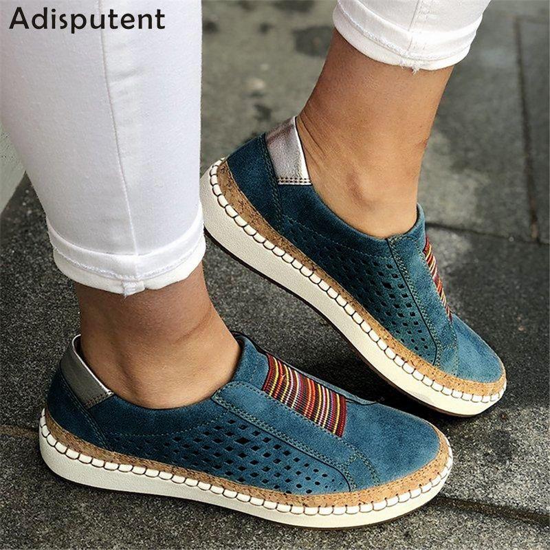 ADISPUTENT mocassins en cuir chaussures décontractées femmes sans lacet baskets confortables mocassins femmes appartements Tenis Feminino Zapatos De Mujer