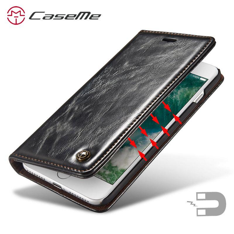 Étui de luxe Pour Apple iPhone 7 Étui En Cuir Magnétique Porte-Cartes pour iPhone 7 Plus Étui En Cuir iphone7 7 plus